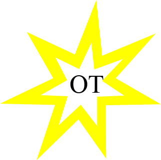 Star icon with OT in the middle standing for Occupational Therapy